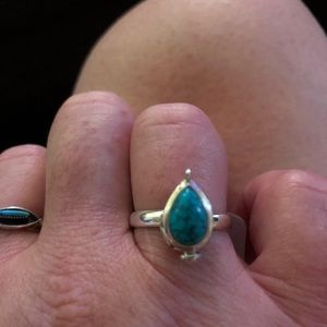 Jewelry - Sterling Silver & Turquoise Poison Ring Size 7 NEW